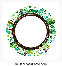 circle with green city - vector