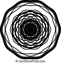 Circular geometric element. Concentric radial limes abstract motif
