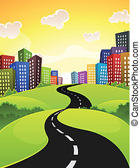 Illustration of a cartoon city road driving downtown in spring or summer season, with fields, bush and meadows and shiny sky
