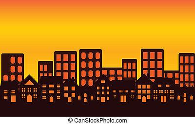 Big city skyline at sunset or sunrise