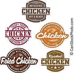 Several different vintage style chicken stamps for menus and signage.