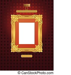 Vector illustration of classical frame with lamp.