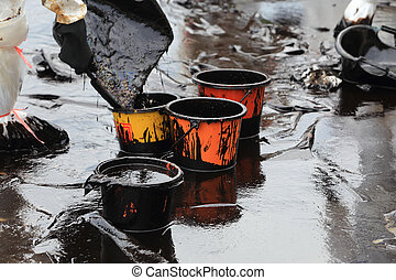 clean up Crude oil stain