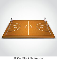 Clear 3d basketball field on white background. Vector illustration