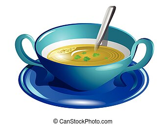 clear soup isolated on a white background