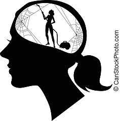 Black female profile with a silhouette of woman, cleaning cobweb, black vector silhouette, no white