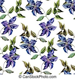 Beautiful vector pattern with nice clematis flowers