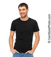 clothing design concept - handsome man in blank black t-shirt