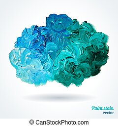 Cloud of blue and green oil paints isolated on white. Abstraction composition. Vector design.