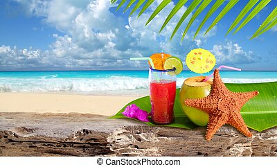 Coconut cocktail starfish tropical Caribbean beach refreshment