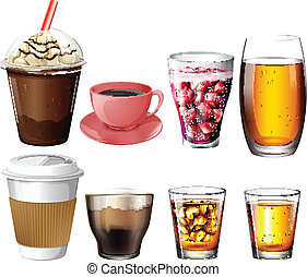 Illustration of the coffee and cocktail drinks on a white background