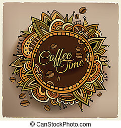 Coffee time decorative border label design. Vector illustration