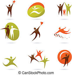 Collection of abstract people figures, logos and icons