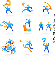 Collection of abstract people figures, logos and icons - business and economy
