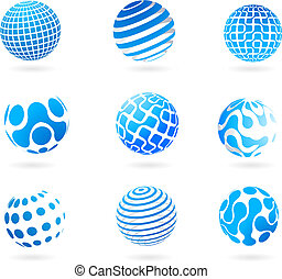 A set of different 3d globes - vector illustration