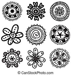 Collection of doodle flowers