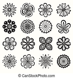 Collection of 16 different stylistic flowers
