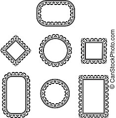 Collection of many vintage picture frames, Vector illustration