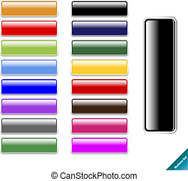 Collection of multi colored glossy internet buttons. Easy to edit, any size, aqua web 2.0 style.