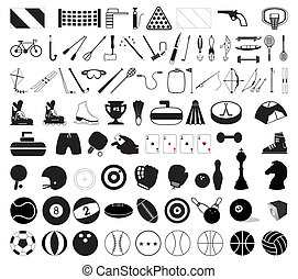Collection of various sports accessories. A vector illustration