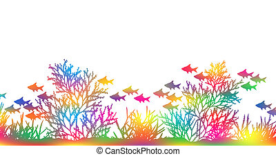 Editable vector illustration of brightly colored coral and fish made by masking a background color mesh