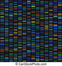 Color Dna Sequence Results on Black Seamless Background. Vector illustration