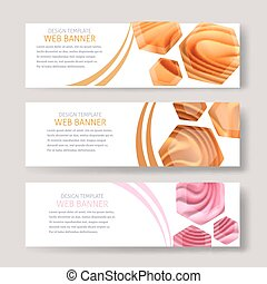 Color image of horizontal banners with blurred background with cream curl. Vector illustration