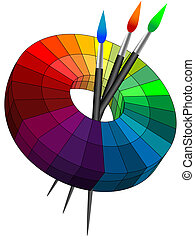Color palette in 3d with brushes for drawing and a paint