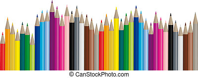 Color pencils in many different colors, handy to use because it's a vector image!