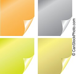 Color stickers with realistic page curl on the white background