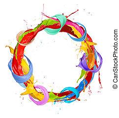 Paint splashes circle isolated on white background