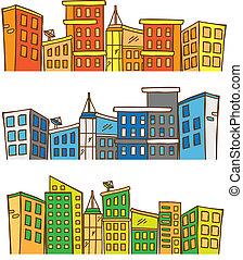 colored cityscape doodle