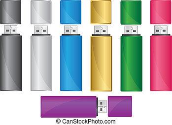 Colored usb flash drive, vector