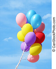 Bunch of balloons against sky - birthday decoration