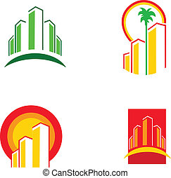 colorful building icons, vector illustration
