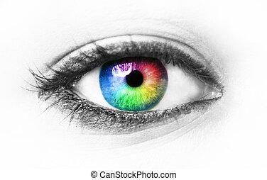Colorful eye isolated on white