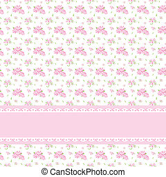 Colorful Flower Seamless Pattern Background with Ornate Frame