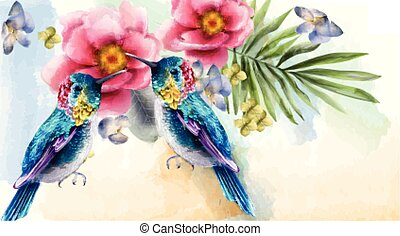 Colorful humming birds and flowers watercolor Vector. Tropic card backgrounds