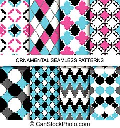Colorful ornamental seamless patterns.