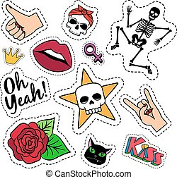 Colorful quirky funny patches with skeleton, rose, skull and lips on white background. Vector stickers or badges set