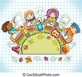 Colorful round composition, with cute schoolchildren and school design elements. with space for your text