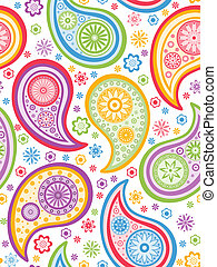 Colorful seamless paisley pattern. Vector illustration.