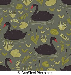 Colorful seamless pattern with gorgeous wild black swans floating in marsh or swamp among water plants. Vector illustration in flat cartoon style for wrapping paper, textile print, wallpaper.