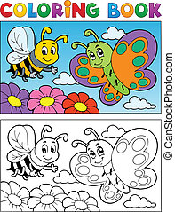 Coloring book butterfly theme 2