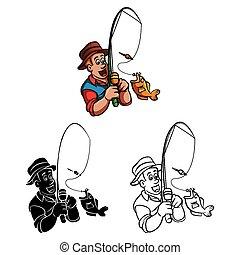 Coloring book Fisherman caracter
