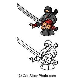 Coloring book Ninja character