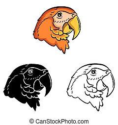 Coloring book Parrot caracter