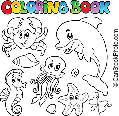 Coloring book various sea animals 2 - vector illustration.