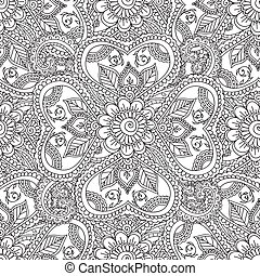 Coloring pages for adults. Seanless pattern. Henna Mehndi Doodles Abstract Floral Paisley Design Elements, Mandala, Vector Illustration. Coloring book. Coloring pages for adults.