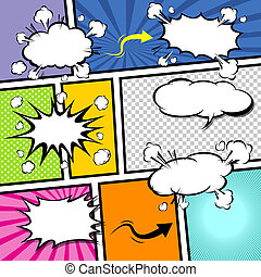 Comic Speech Bubble template, Cartoon illustrator EPS 10